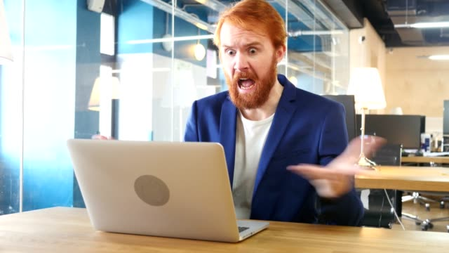 Man Yelling, Going Crazy at Work, Red Hairs Man Yelling, Going Crazy at Work, Red Hairs angry stock videos & royalty-free footage