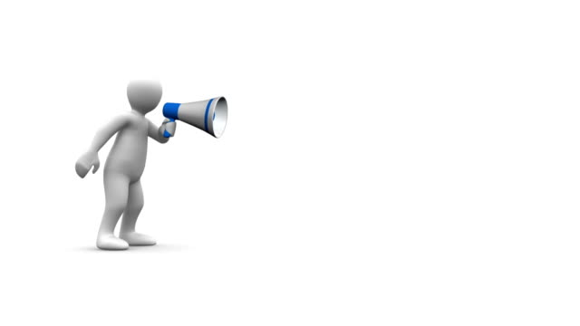3D man yelling into megaphone to reveal terms video