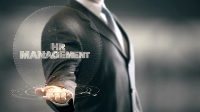 HR Management with hologram businessman concept video