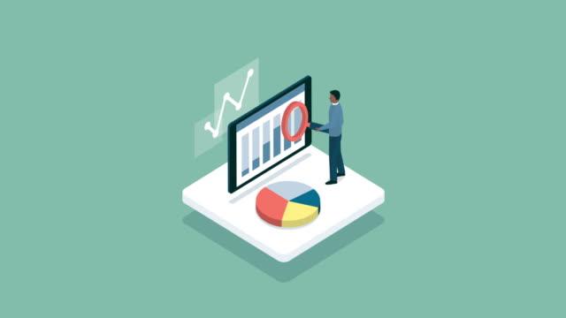 stockvideo's en b-roll-footage met manager analyseren van de grafiek van een bedrijf op een mobiele app - isometric