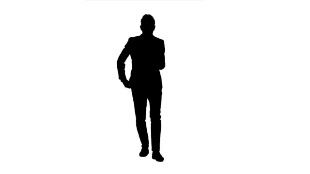Manager goes to meetings and holds the documentation. White background. Silhouette video