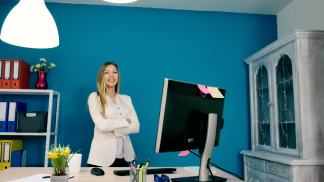 Manager in her office video