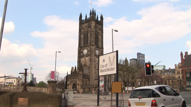 manchester city centre-hd & pal - manchester inghilterra video stock e b–roll