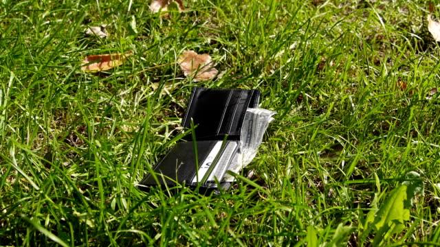 瑪德在草地上找到錢包,從中取錢。 - 銀包 個影片檔及 b 捲影像