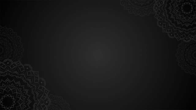 mandala black color loop background for text - мандала стоковые видео и кадры b-roll