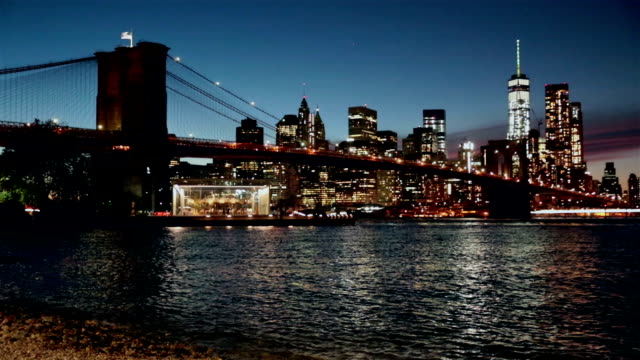 Manhattan and Brooklyn Bridge at Sunset, New York City video