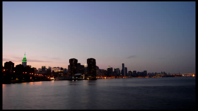 Manhattan and East River Wide Dusk Timelapse video