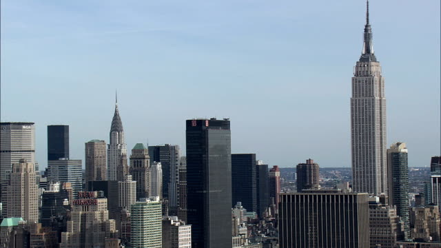 Manhattan and empire state building - Aerial View - New York,  New York County,  United States video