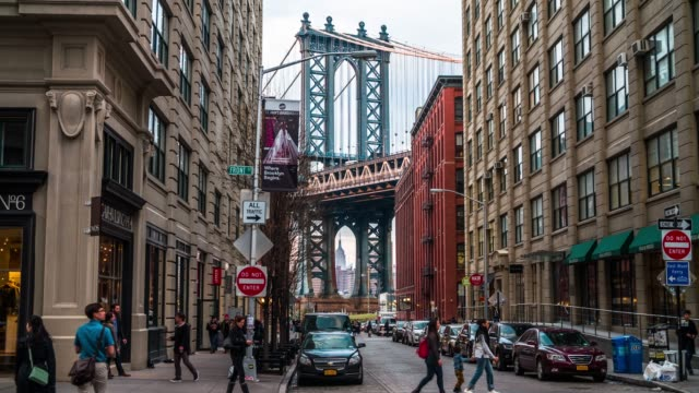 Manhattan Bridge, New York USA View on Manhattan Bridge from Washington street, Brooklyn, New York, USA manhattan bridge stock videos & royalty-free footage