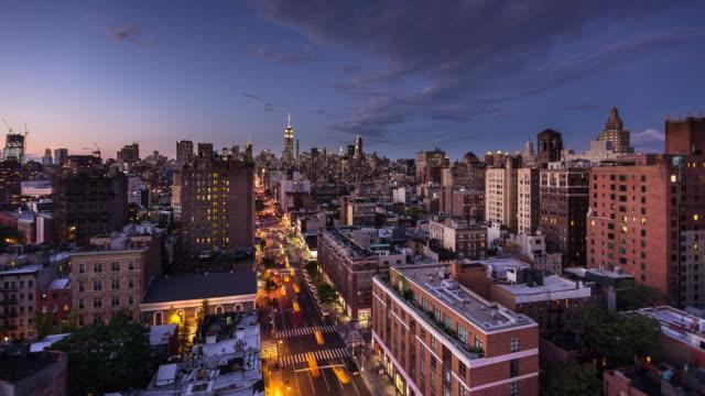 맨하탄 도시-하루 밤 시간 경과 - 낮 스톡 비디오 및 b-롤 화면