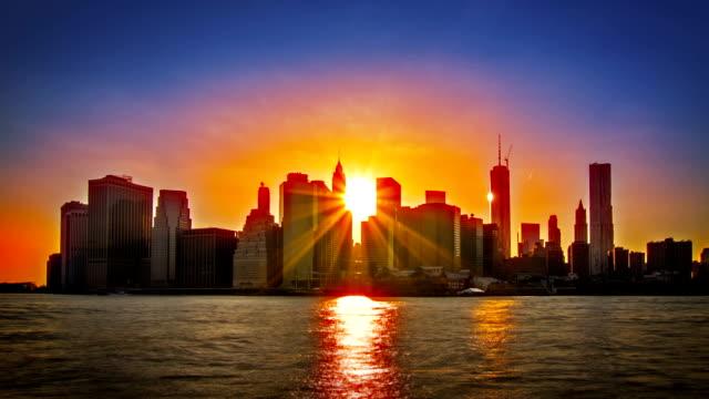 Manhattan downtown. Sunset