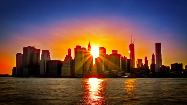 Manhattan downtown. Sunset video