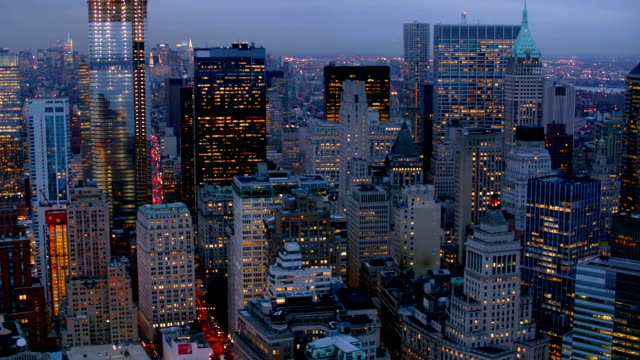 Manhattan financial district at dusk, aerial shot video