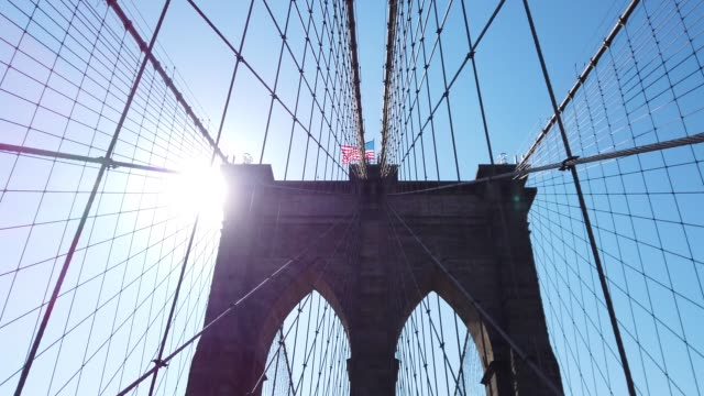manhattan from brooklyn bridge - american architecture stock videos & royalty-free footage
