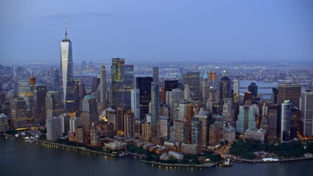 AERIAL Manhattan in the evening video