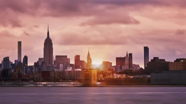 Manhattan midtown skyline sunset
