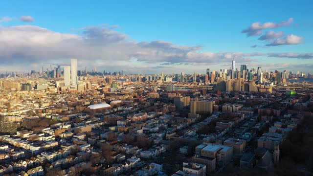 Manhattan, New York on Sunny Day. Aerial View
