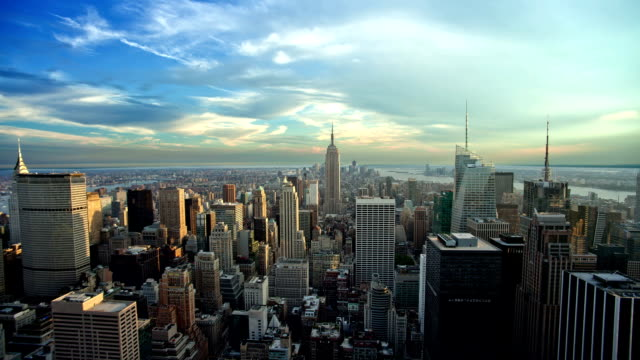 De Manhattan de New York City Empire State Building de jour nuit Seamless Loop - Vidéo