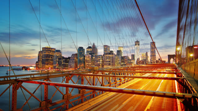 Manhattan skyline and Brooklyn bridge at night. Time lapse video