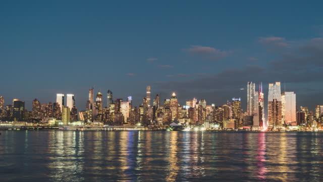 T/L WS PAN Manhattan Skyline Panorama, from Dusk to Night