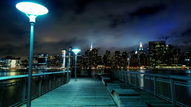 Manhattan Skyline Time-Lapse Night video
