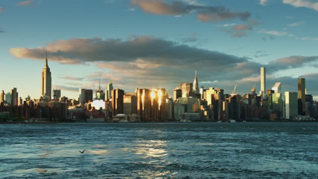 Manhattan Skyline with Bright Sun Reflection video