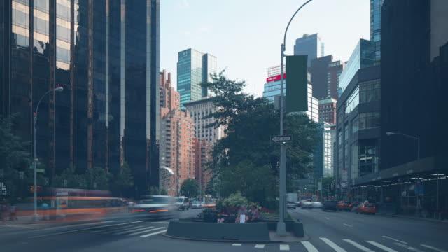manhattan traffic street near columbus circle 4k time lapse from ny video