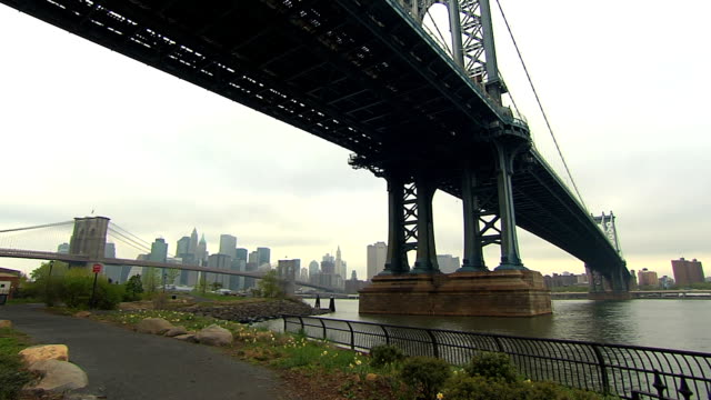 Manhattan/Brooklyn Bridge in front of  NYC skyline Steady non-moving shot of the East River with the two bridges and the skyline framed in between. manhattan bridge stock videos & royalty-free footage
