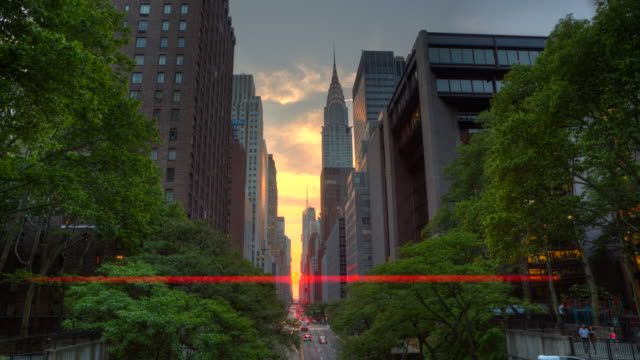 Manhattanhenge New York City at sunset time lapse video