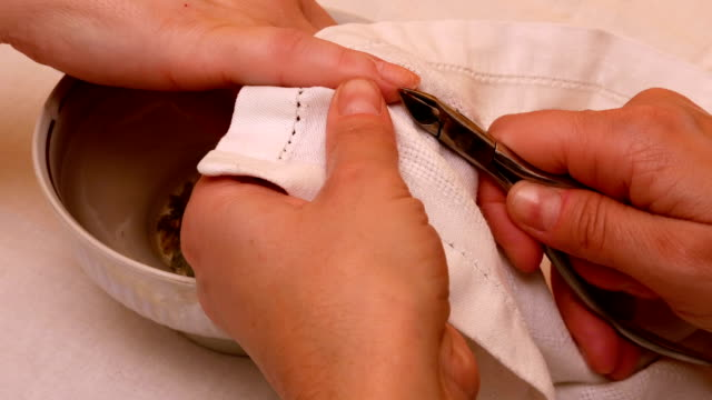 Manicure painting and polishing nails in spa salon video