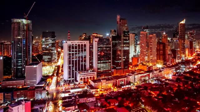 vista timelapse di manila sullo skyline di makati, metro manila - filippine - filippino video stock e b–roll