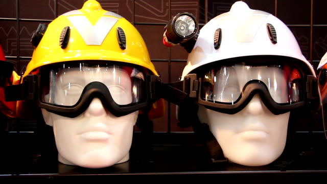 Mannequins with protective helmet and goggles video