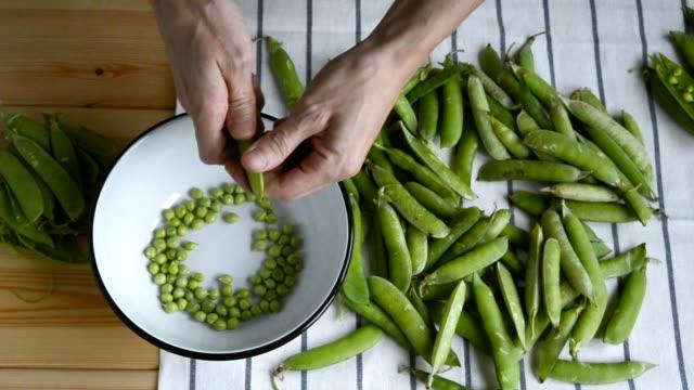 vídeos de stock, filmes e b-roll de mans mão shelling fresco maduro feijão ervilhas verdes - descascado