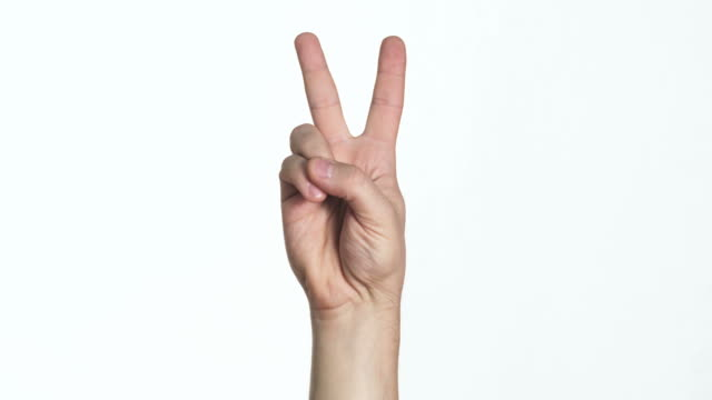 man's hand showing victory sign video