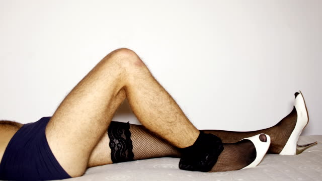 Man´s leg with lingerie video