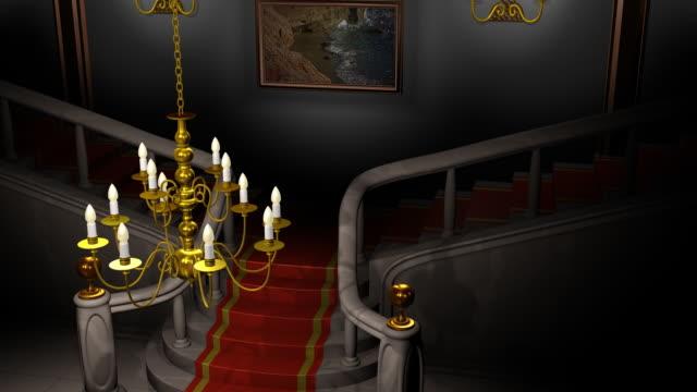Mansion Hall at Night Animation (HD) video