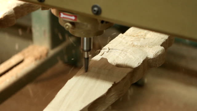 Manual processing of wood with tools at the woodworking and furniture plant video