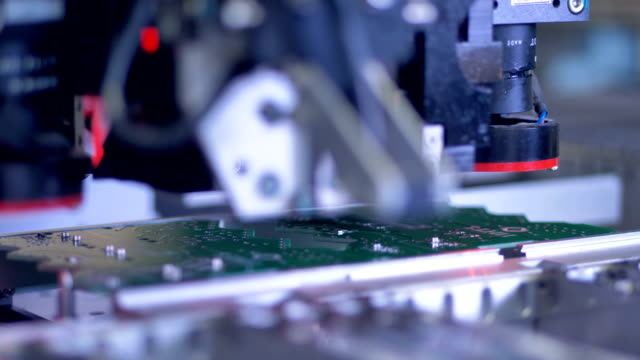 Manufacture of electronic chips. Close up. video