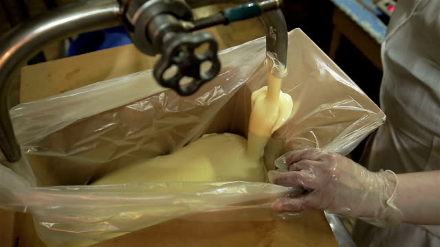 manufacture of margarine in the dairy plant - lattaio video stock e b–roll