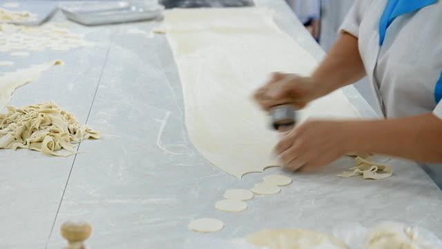 vídeos de stock e filmes b-roll de manufacturing of a large number of dumplings in hand - ravioli