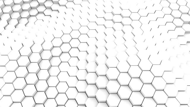 Many abstract geometric hexagons as wave, optical Illusion, computer generated 3D rendering video