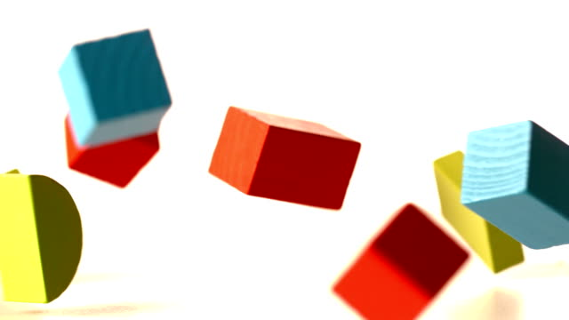 Many building blocks falling and bouncing video