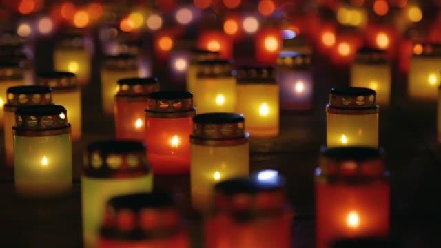 Many burning lanterns on memory video