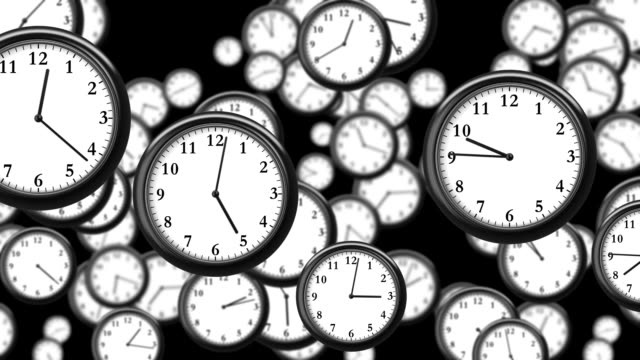 Many Clocks flying in Time-lapse in 3D animation. Time Concept Footage. HD 1080. Looped. video