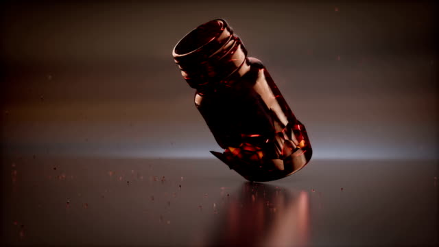 Many colored pills and broken jar 3d rendering video