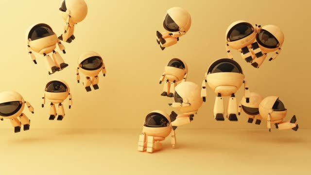 Many cute yellow robot sitting and look up on pink background. 3d rendering