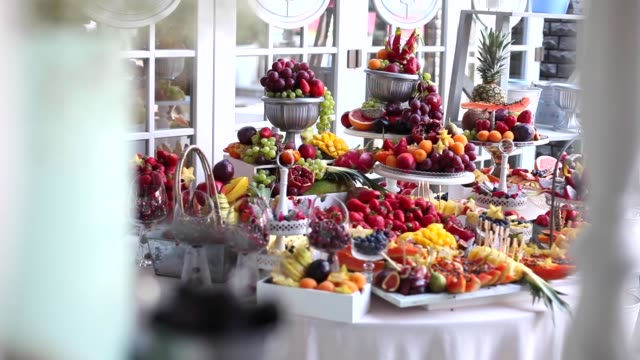 many different fruits an the wedding reception video