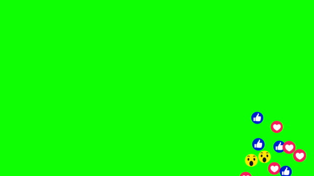 many emotion icon come across on green screen - emoji video stock e b–roll