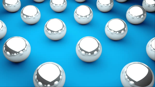 Many glossy balls with reflections are on surface, isometric background, modern computer generated 3D backdrop Many glossy balls with reflections are on surface, isometric background, modern computer generated 3D render backdrop illusion stock videos & royalty-free footage