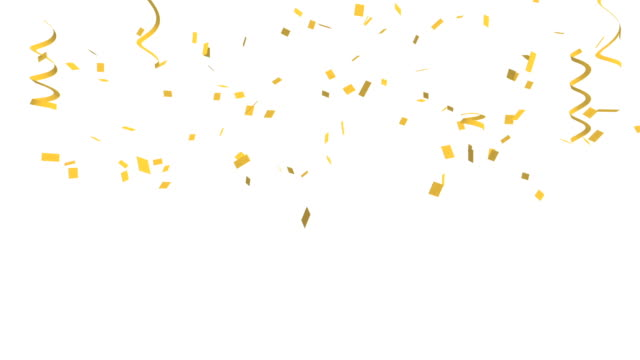 vídeos de stock e filmes b-roll de many golden confetti and ribbon on white background for celebration event and party for new year, birthday party, christmas or any holiday. 3d abstract illustration - gold